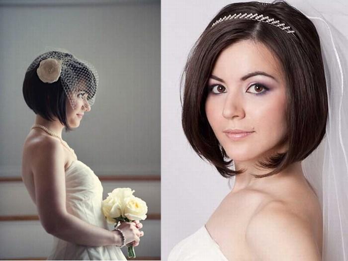 Прическа с фатой на короткие волосы