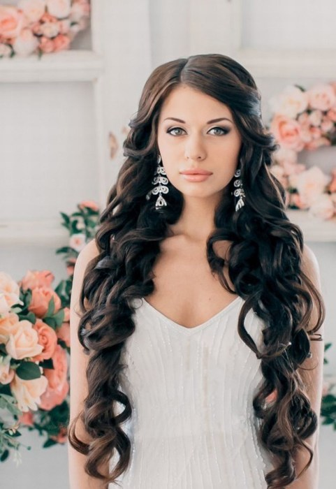 Причёски свадебные на длинные волосы локоны