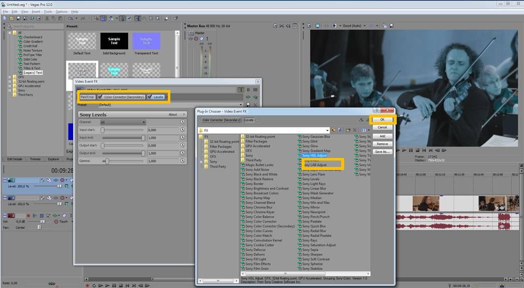 как вставить видео в картинку в sony vegas 13