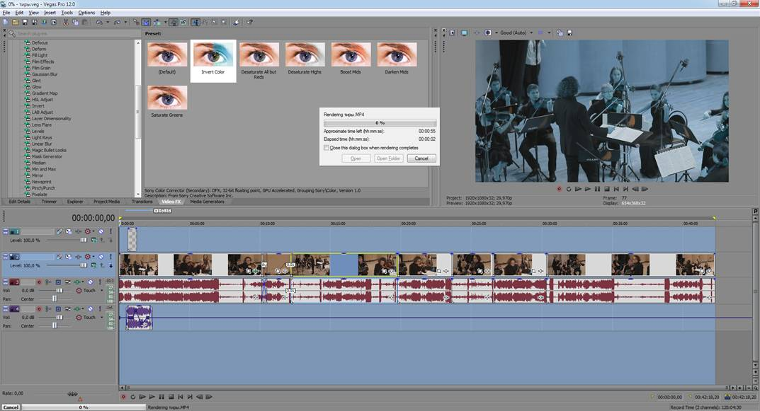 how to change where sony vegas renders to